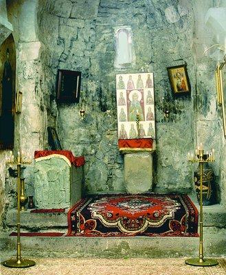 Место погребения прп. Иоанна Зедазнийского в ц. Преображения Господня мон-ря Зедазени